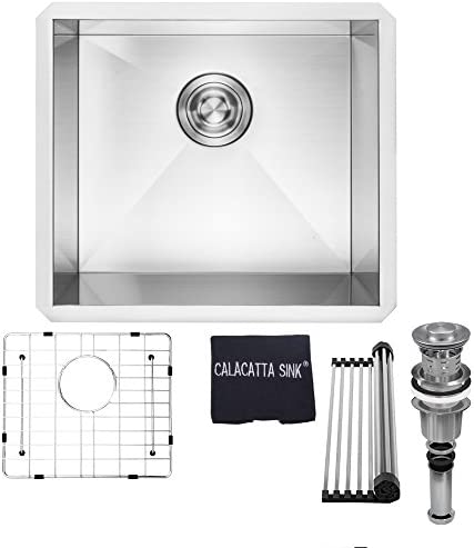 Calacatta Kitchen Sink 20-inch Handmade Single Bowl Undermount 16 Gauge Stainless Steel 304 Kitchen Sink w Drain Strainer Grid Dish Cloth, CS2018