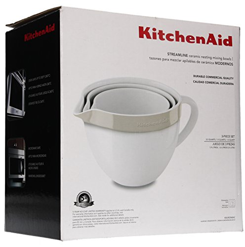 KitchenAid KBLR03NBAC 3 Piece Nesting Ceramic Mixing Bowl Bakeware Set, Almond ()
