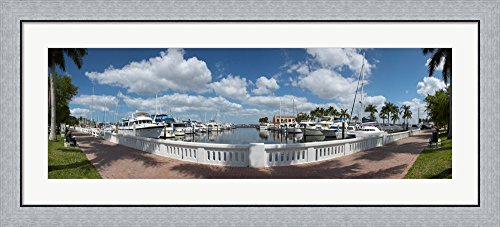 Park at the riverside, Twin Dolphin Marina, Manatee River, Bradenton, Manatee County, Florida by Panoramic Images Framed Art Print Wall Picture, Flat Silver Frame, 45 x 20 - Riverside Park North
