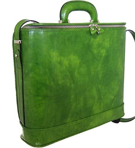 Pratesi Italian Leather Raffaello Leather Laptop Briefcase-17 inch, Green