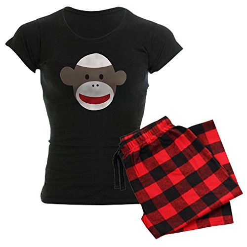 CafePress Sock Monkey Face Women's Dark Pajamas Womens Novelty Cotton Pajama Set, Comfortable PJ Sleepwear -