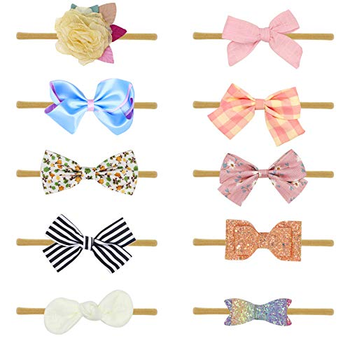 Baby Girl Headbands and Bows Flowers,Newborn Infant Toddler Hair Accessories by FANCY CLOUDS Set of 10 ()