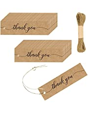 Thank You Tags, 50 PCS Kraft Paper Gift Wrap Tags with 10m Natural Jute Twine for Wedding Christmas Day Thanksgiving Gift Packaging