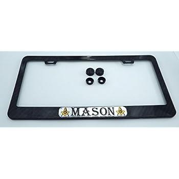 Mason Masonic Black Carbon Fiber Look metal Car License plate frame holder