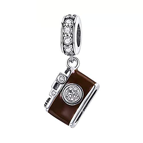 ABAOLA Travel Charm 925 Sterling Silver Camera Charm Suitcase Beads Charms Bracelet Necklace