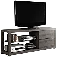 Bowery Hill 60 Tempered Glass TV Console in Dark Taupe