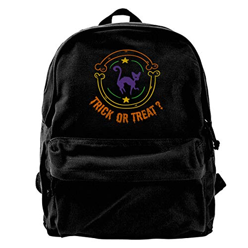 Hghthyuir Classic Canvas Backpack Trick Or Treat Halloween Black Cat Unique Print Style,Fits 14 Inch Laptop,Durable,Black ()