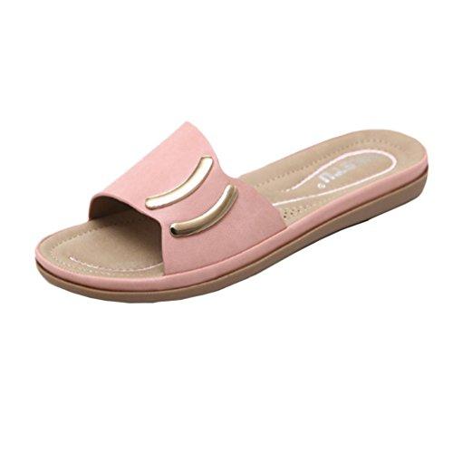 Fheaven Sommar Mode Kvinnor Platta Sandaler Vänder Flops Kvinna Avslappnad Lädersandals Sko Rosa