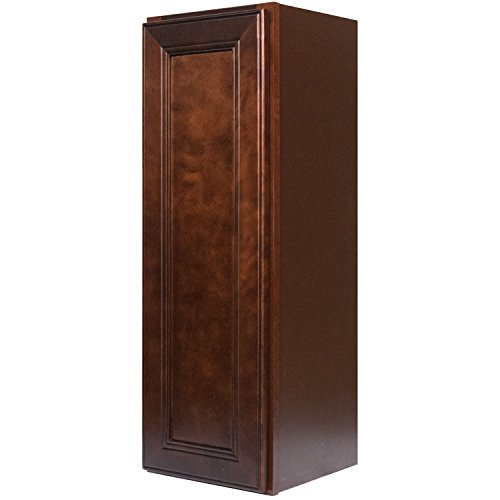 Everyday Cabinets 15 Inch Single Door Wall Cabinet in Leo Saddle (Dark Cherry Wood) with Soft Close Door & 2 Adjustable Shelves 15