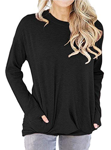 9e327cec GSVIBK Womens Casual Round Neck Sweatshirts Long Sleeve Loose Pullover  Blouse Soft Pullover Top Pocket Tops