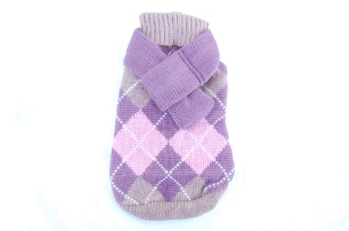 Anima Pink Knit Argyle Seater with Matching 14-Inch Scarf, X-Small, My Pet Supplies