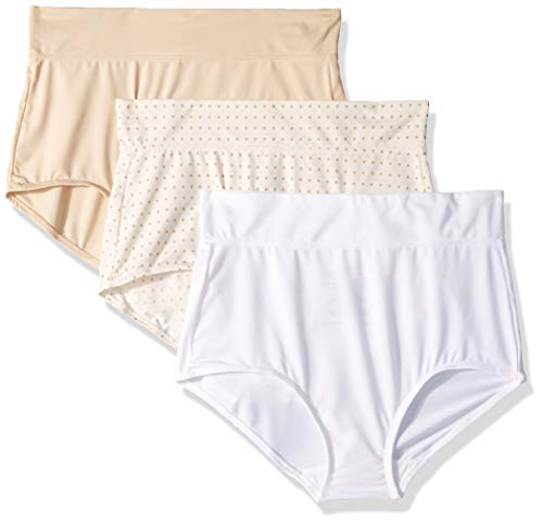 Warner's Women's No No Pinching No Problems with Lace Hipster 3 Pack Panties, Sand/White/Body Tone dot Print, 10