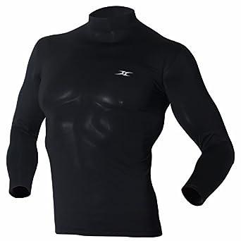 Mock turtleneck men shirts tops base layer compression for Mock long sleeve t shirts