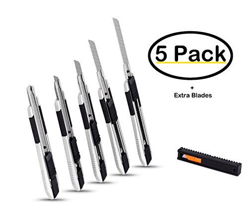 Internet's Best Snap-Off Utility Knife | Small | Set of 5 Pack | Blades Belt Clip | Retractable Razor Knife Set | Box Cutter Locking Razor Knife Tool | Good Grip