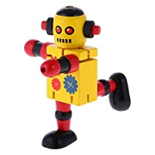 MagiDeal Mini Wooden Walnut Robot Toy Kids Gift Toy Walnut People Decor Yellow