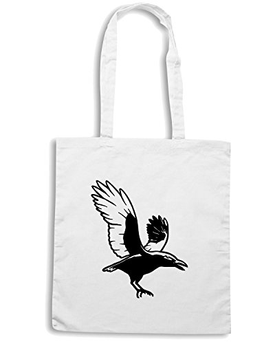 T-Shirtshock - Bolsa para la compra FUN1105 crow crows animal animals vinyl decal sticker 95223 Blanco