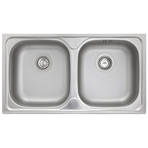 ED 7843 Doppel-Becken-Spüle Edelstahl-Spüle 2 Ausguß-Becken