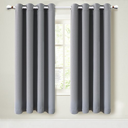 Maevis Blackout Curtains 2 Panels For Bedroom Window Treatment Thermal Insulated Solid Grommet Blackout Drapes For Living Room  Dove Grey  52 84Inch