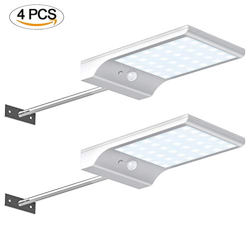 1 Light Sconce Novello (Xelparuc 4Pcs Solar Pathway Lights, 36 LED Solar Motion Sensor Light, Outdoor Wall Sconces with 3 Modes Waterproof Powered Security Light Wall Gutter Light with Mounting Pole for Porch, Patio, Garden)