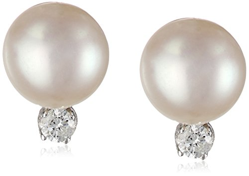 14k White Gold White Freshwater Cultured Pearl and Diamond Stud Earrings (7-7.5mm) (0.10 cttw, H-I Color, I1-I2 Clarity)