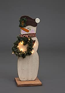 """product image for Primitive Christmas Decoration - Wooden Standing Snowman with Wreath Decoration - Amish Made in USA (Small (12"""" W x 30"""" H))"""