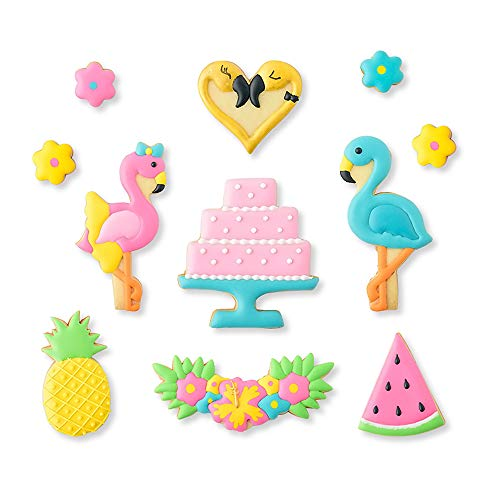 Watermelon Flower - Set of 14 - Flamingo Cookie Cutters with Matching Cookie Stencils -8Pcs Cookie Cutter and 6Pcs Stencils, Include 2 Flamingos, Garland, Heart, Cake Shape, Pineapple, Watermelon and Flower