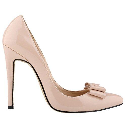 Loslandifen Womens Closed Toe Cusp High Heels Patent Leather Wedding Pumps(302-19PA39,nude)