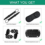 (1 suit)Ermorgen VR Accessories Combination for Oculus Quest Basic Set(Upgraded), Protective Silicone Headset Cover, Dust Proof Lens Cover, Silicone Controller Cover, Adjustable Hand Grip Strap 4 in 1