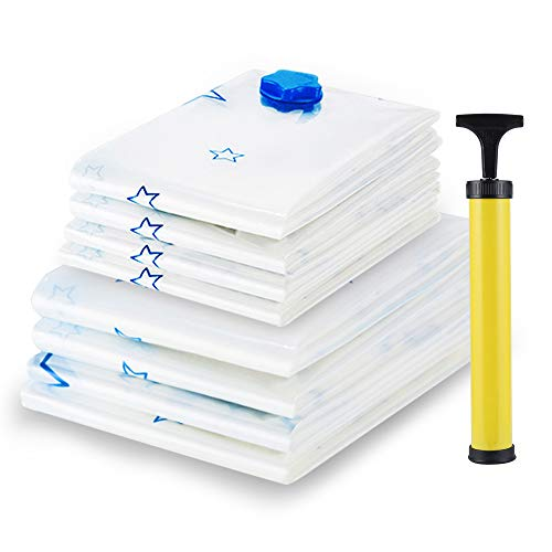 Vegkey Vacuum Storage Bags,Saving 80% for Cloth and Pillow at Home 8 Packs (4xMedium,4xJumbo) Space Saver Seal Bags with Free Hand Pump