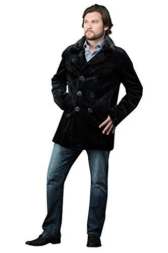 EM-EL Men's Black Sheared Mink Double Breasted Fur Jacket