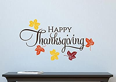 Happy Thanksgiving Leaves Fall Autumn Decor Vinyl Decal Wall Sticker Words Lettering 32x18