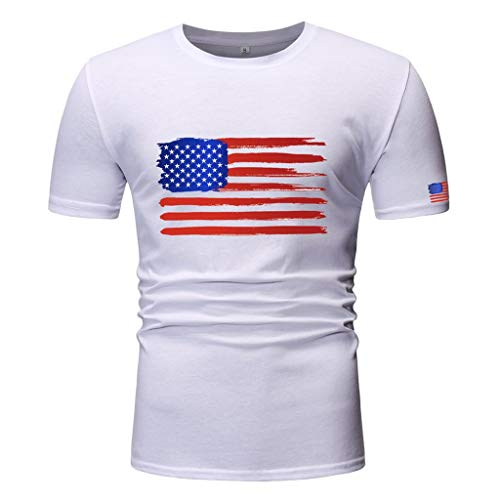 (July 4 Clothing Respctful✿ Men's T-Shirt Short Sleeve Slim Fit Shirt Basic Casual Tee Tops for American Flag Printed White)