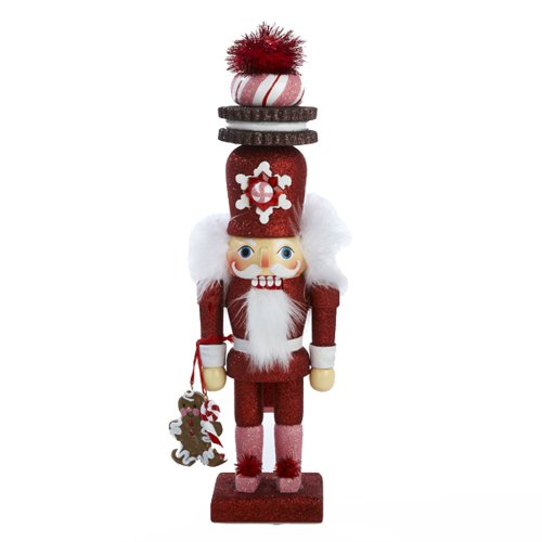 Kurt Adler 12-Inch Hollywood Red Gingerbread Nutcracker with Cookie Hat (12 Nutcracker)