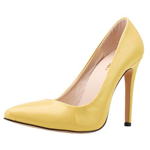 Zbeibei Women's PU Faux Leather High Heels Corset Style Pumps Court Work Women Shoes(30235PA39yellow)