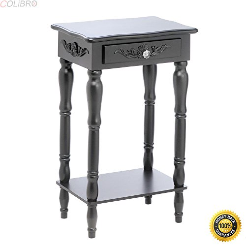 COLIBROX--COLONIAL CARVED SIDE END TABLE NIGHTSTAND BLACK ELEGANT LIVING ROOM DECOR,wood end tables,designer end tables,small wooden end tables,black wood end tables,cheap wood end tables