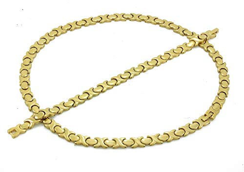 (Hugs and Kisses Stainless Steel Stampato Necklace and Bracelet Set Gold Tone )