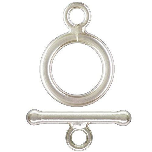 4 qty. Small Toggle Clasps, .925 Sterling Silver: (1.5mm x 13mm) Bar & Ring (1.5mmx9mm) By JensFindings ()