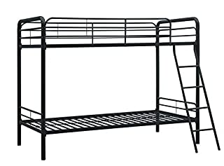 DHP Twin-Over-Twin Bunk Bed with Metal Frame and Ladder, Space-Saving Design, Black (B004LQ1R3S) | Amazon price tracker / tracking, Amazon price history charts, Amazon price watches, Amazon price drop alerts