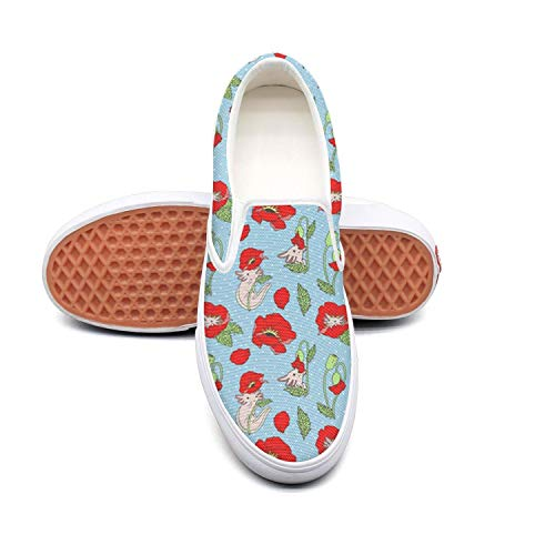 Lalige Lalige Lalige Beautiful Axolotl with Poppies Women Cute Canvas Slip-ONS Skate Shoes B07GLM4NGL Parent a91159