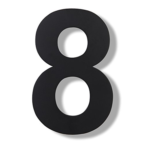 Mellewell Modern Floating House Numbers, Super Large 10 Inch, Black Finish, Stainless Steel 304, Number 8 Eight ()