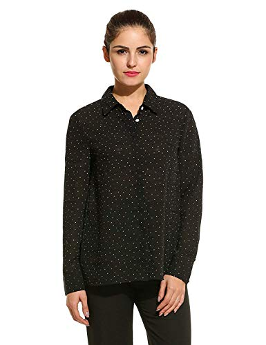 Manches Tops Femme Dame Printemps Spcial Blouse Mousseline Dots Longues Simple Large Style Vintage Polka Casual Mode Revers Chemise Chemisier Haut Schwarz Elgante Boutonnage Blouse Automne A0qXX