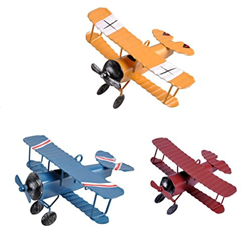 (TTKBHHQ 3pc Vintage Metal Planes Model Iron Retro Aircraft Glider Biplane Pendant Model Airplane kids Toy,Christmas,Home Decor,Ornament,Desktop Decoration)