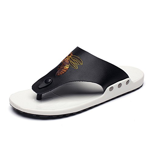 Sommer Neues Muster Zwei Ebenen Rindsleder Männer Strand Flip Flops Mode Outdoors Flip Flops, Schwarz, UK = 7, EU = 40 2/3