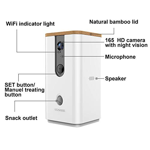 DOGNESS Pet Treat Dispenser with Camera, Monitor Your Pet Remotely with HD Video, Two-Way Audio, Night Vision, for Dogs and Cats - Black by DOGNESS (Image #3)