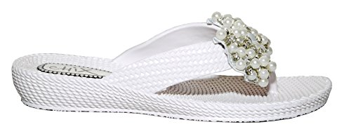 Elegante Damen weiß Faux Perle und Diamante gewebte Effekt Wedge Flip Flops Weiß