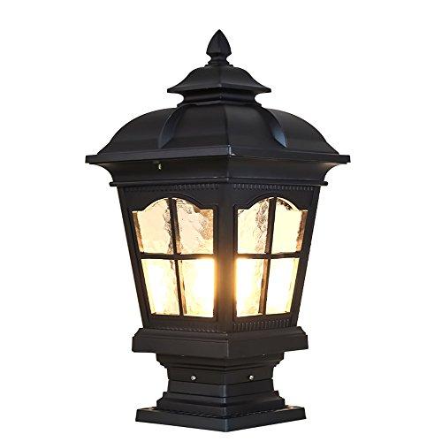 CGJDZMD Pillar Lamp European-Style Simplicity Waterproof Antirust Aluminum Column Lamp Outdoor LED Post Light Garage Pavilion Courtyard Courtyard Lighting (Color : Black)