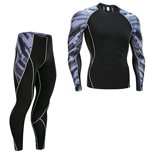 Men's New Long Sleeve Tights Shirt Men's Running Suit Brand Bodybuilding T-Shirt Gym Clothes,Set,4XL for $<!--$60.29-->