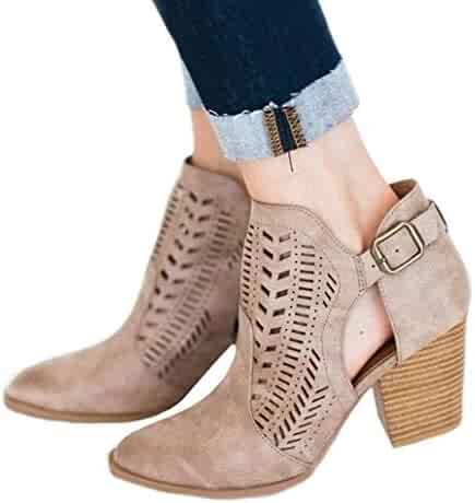 95ff9e924c65 Fashare Womens Fall Cutout Booties Stacked Chunky Block Heel Western Cowboy  Short Ankle Boots