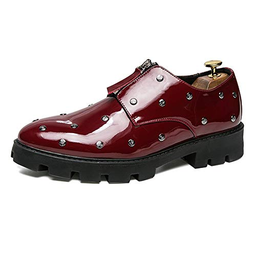HONGkeke Men's Business Oxfords for Men Front Zipper Formal Dress Loafers Shoes Soft Microfiber Patent Leather Rivets Decor Outsole Fashion Durable (Color : Wine, Size : 6.5 M US)