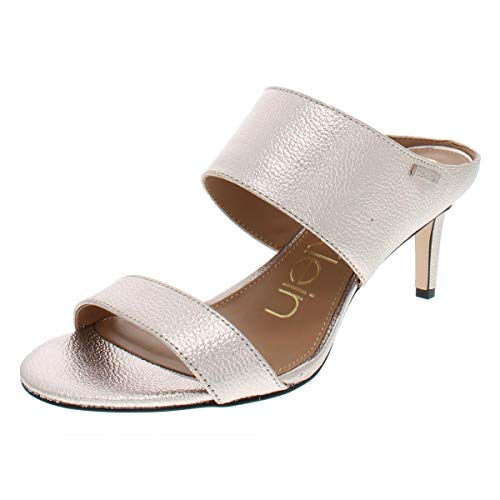 Calvin Klein Womens Cecily Leather Open Toe Casual, Soft Platinum, Size 8.0